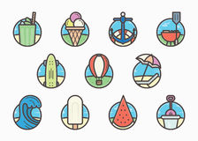 Summer trendy flat line icon pack for designers and developers. Colorful vector illustration Royalty Free Stock Images