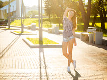 Summer Trendy Hipster Girl Posing Outdoors Royalty Free Stock Images