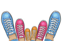 Summer trendy sports shoes. Family-run collection of sneakers. Vector Stock Photos