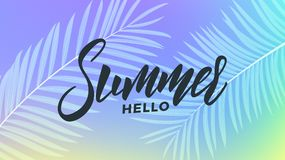 Summer. Trendy tropical background of holographic colors. Summer banner for promotion, sale, party events royalty free illustration