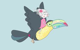 Summer trip. Vector illustration of an girl flying with toucan Stock Photos