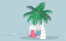 Summer trip. Vector illustration of an couple sitting below palm tree Royalty Free Stock Photography