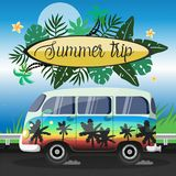 Summer Journey on a large painted minibus vector flyer royalty free illustration