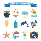Summer trip icon set. Set of summer trip icons: cruise ship, swimming suit, diving mask, hat, sunglasses, sunscreen flip-flops, travel bag, dolphin and other Royalty Free Stock Image