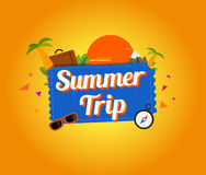 Summer trip logo design Royalty Free Stock Image