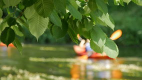 Summer trip on the river by canoe stock footage