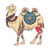Summer trip vector illustration card with ethnic camel drawing Stock Photo