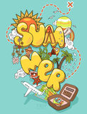 Summer trip. Vector illustration of summer trip with different elements on blue background vector illustration