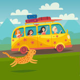 Summer trip vector illustration. Surfing bus illustration with place for your text Stock Photo