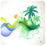Summer tropical background. Vector palm trees and flowers royalty free illustration