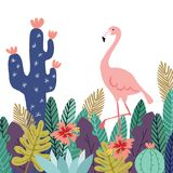 Summer tropical background, banner. Flamingo bird with cactuses, succulent plants, palm leaves and flowers. Stock vector Stock Photography