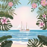 Summer tropical background with exotic floral plants leaves palm, beach ocean seashore, sailboat, sky, clouds. Template vector illustration