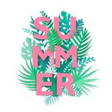 Summer tropical background with exotic palm leaves and plants. Digital craft. Summer tropical background with exotic palm leaves and plants. Vector floral Royalty Free Stock Images