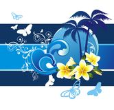Summer tropical background with flowers Royalty Free Stock Photos