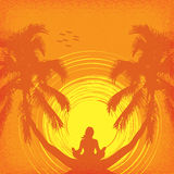 Summer tropical background with girl in yoga. Summer tropical background with a girl in yoga Royalty Free Stock Photo