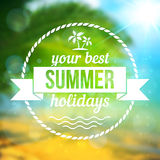 Summer tropical background with text badge Royalty Free Stock Photos