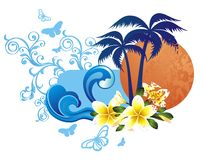 Summer tropical background with waves and flowers Stock Images