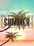 Summer tropical backgrounds with palms, sky and sunset. Summer poster flyer invitation card. Summertime.  illustration.EPS 1 Royalty Free Stock Images