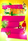 Summer tropical baclground. Summer tropical party poster background with space Royalty Free Stock Images