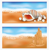 Summer tropical banners with sandcastle and seashe Stock Photography