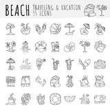 Summer tropical beach icon collection. Hand draw icons about travel to tropic beach and have vacation. Summer and beach. Attributes - coctails, coconut, sand Stock Photo