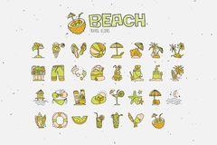 Summer tropical beach icon collection. Hand draw icons about travel to tropic beach and have vacation. Summer and beach. Attributes - coctails, coconut, sand Royalty Free Stock Photography