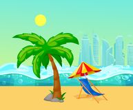 Summer tropical beach with palm trees lounger under. On the background of the sea and skyscrapers. Concept travel, exotic trip, summer vacation vector royalty free illustration