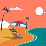 Summer Tropical Beach with Palm Trees and Umbrella Royalty Free Stock Photo