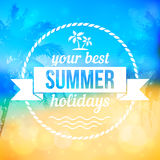 Summer tropical beach vector background with badge royalty free illustration