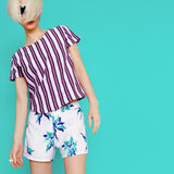 Summer tropical clothing. Fashion lady. beach style Stock Image