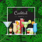 Summer tropical cocktail with palm leaves. Cocktail party poster. Or invitation to beach party. Flat style, vector illustration stock illustration