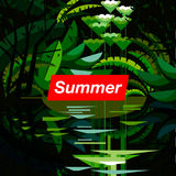 Summer tropical forest, seasonal background Royalty Free Stock Photo