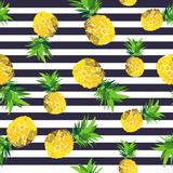 Pineapple seamless pattern. summer pattern on a stripy background. Summer tropical fruit pattern. exotic fruit hand drawn Stock Photo
