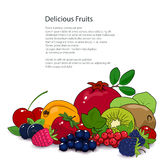 Summer Tropical Fruits and Berries Isolated. Fresh Summer Tropical Fruits and Berries Isolated on White Background and Text, Healthy Food and Natural Organic Royalty Free Stock Images