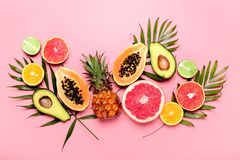 Summer tropical fruits concept royalty free stock photo