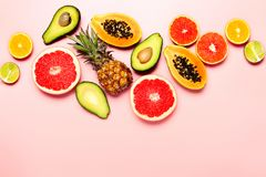 Summer tropical fruits, top view royalty free stock images