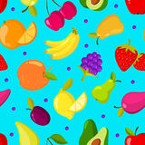 Summer tropical fruits vector seamless background. Pattern with exotic fruits, illustration of summer nature fruit Stock Photo