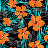 Summer tropical hawaiian background with palm tree leaves and exotic flowers Stock Photo