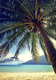 Summer Tropical Island Beach Cruise Ship Concept Royalty Free Stock Photos