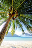 Summer Tropical Island Beach Cruise Ship Concept Stock Images