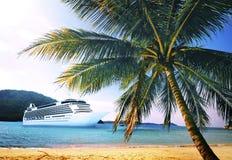 Summer Tropical Island Beach Cruise Ship Concept Stock Image
