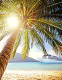 Summer Tropical Island Beach Cruise Ship Concept Royalty Free Stock Images