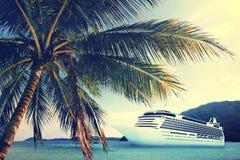 Summer Tropical Island Beach Cruise Ship Concept Stock Images