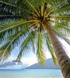 Summer Tropical Island Beach Cruise Ship Concept Stock Photo