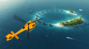 Summer tropical island. Small helicopter flying to private paradise tropical island with wind turbines energy and bungalows Stock Photos