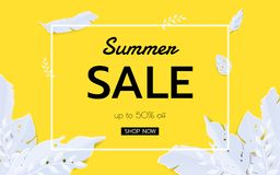 Summer tropical leaf banner sale. Seasonal design advertising paper cut style Royalty Free Stock Images