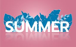 Summer tropical leaf banner sale. Seasonal design advertising paper cut style Stock Photography