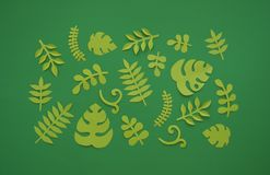 Summer Tropical leaves, plants Frame. Paper cut style. Exotic summertime. Stock Photography