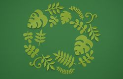 Summer Tropical leaves, plants Frame. Paper cut style. Exotic summertime. Royalty Free Stock Image