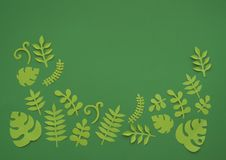 Summer Tropical leaves, plants Frame. Paper cut style. Exotic summertime. Stock Photos